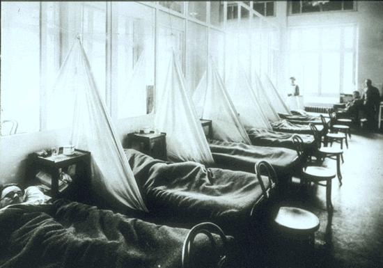Malades de la grippe espagnole � l'U.S. Army Camp Hospital No. 45 � Aix-les-Bains,